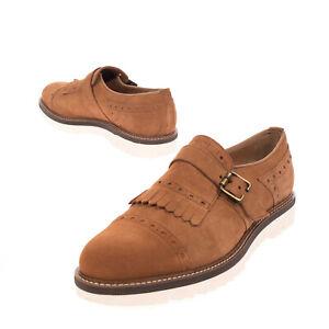 THOMPSON Leather Monk Strap Shoes EU 43 UK 9 US 10 Fringe Trim Made in Italy