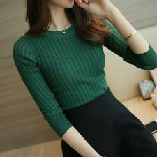 Women Turtleneck Sweater Slim High Elastic Knitted Regular Warm Full Pullovers