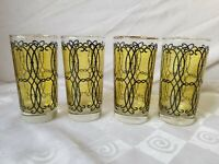 Libbey Mid Century Black Yellow Highball Glasses Flashed