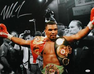 Mike Tyson Autographed 16x20 BW Spotlight Photo- JSA W Auth *Silver