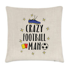Crazy Football Man Linen Cushion Cover Pillow - Funny Soccer Sport