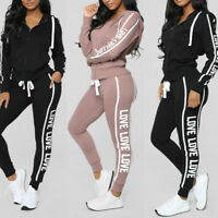 Women Casual Stripe Zipper Long Sleeve Pullover Thick Sport Tops+Fitted Pant Set