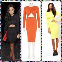 River Island Dress Size 6,14,16,18 Black Lime Wrap Orange Long Sleeve Jersey