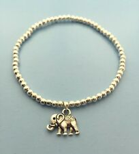 Silver ball bead Friendship wish bracelet with Lucky elephant charm stacker Boho