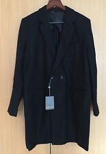 NWT Slate &Stone Smith Black Wool Blend Notch Collar Knitted Coat Men Jacket XL
