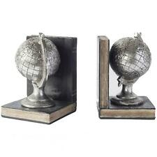 Antique Silver Globe Bookends Pair (5055999222365)