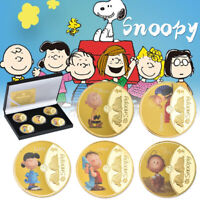 5pcs PEANUTS Snoopy Gold Commemorative Coin Charlie Brown Lucy In Gift Box