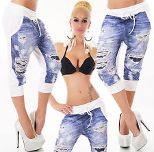 Sexy Women's Capri Pants Boyfriend Trousers Destroyed Look Denim Look 8,10,12