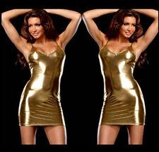 sexy mini Kleid kurz Etuikleid Gold Abendkleid lack leder Party Wetlook Clubwear
