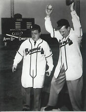 Who's On First 8x10  photo with Abbott and Costello in Braves uniforms