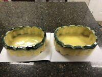 Rare Matching McCoy Pottery 2 Large Planters Green And Yellow
