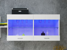 Wall Mounted LED Cupboard Display Cabinet Unit Glass Shelves Cabinet lights UK