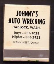 JOHNNY'S AUTO WRECKING-HOGGING THE PICTURE!-MATCHBOOK-FULL-ONE 1/2 INCHES WIDTH