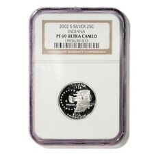 USA Indiana State Quarter 2002 S Silver Proof NGC PF 69 Ultra Cameo