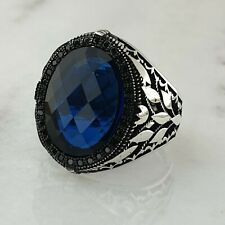 Solid 925 Sterling Silver Blue Sapphire Gemstone Men Ring Turkish Style