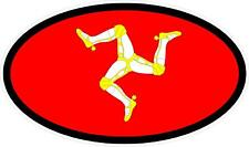 "#3167 (1) 2.5"" Isle of Man Flag Racing MotoGP Decal Sticker LAMINATED Red/Black"