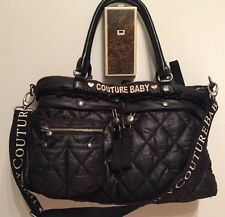 JUICY COUTURE BABY BLACK PADDED & QUILTED NYLON XL DIAPER BAG