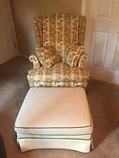 """Ethan Allen """"Traditional Classics"""" Wing chair Multicolor with white ottoman"""