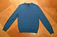 Banana Republic V Neck Long Sleeve Pullover Sweater 100% Merino Wool Blue S Men