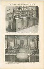 Tafel CHEMISCHES LABORATORIUM UNIVERSITÄT LEIPZIG / LABOR Orig.-Holzstich 1894