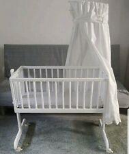 Stubenwagen Kinderbett Weiß mit Rollen