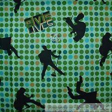 BonEful FABRIC FQ Cotton Quilt Green Blue ELVIS Music Guitar Retro Hippie Dot US
