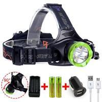 XM-L T6 6X LED 80000 Lm USB Headlamp Headlight +2X 18650 Battery+Charger UP