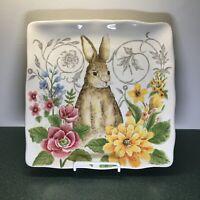 "Maxcera Easter Spring Bunny Rabbit Floral 11"" Porcelain Dinner Plate New"