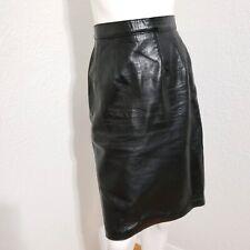Vtg 80s Black Leather Skirt High Waist Broken In Maxima Neiman Marcus Sz 6