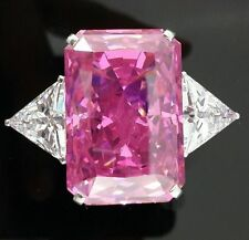 Vast 6CT Pink Radiant Cut Diamond Cocktail Party Certified Ring 14K White Gold