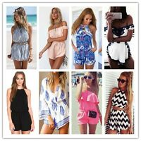 Sexy Womens Holiday Mini Playsuit Jumpsuit Summer Shorts Beach Sun Dress