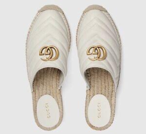 NIB Gucci Marmont White Double GG Matelassé Espadrille Mules 37EU/7US $650.00
