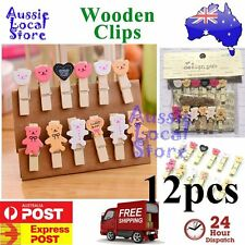 Wooden Clip Bear Pegs Cute Mini Wood Lolly Photo Postcard Holder Set Gift Craft