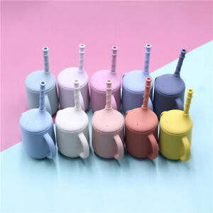 Baby Silicone Water Cups with Straw Feeding Bottle Learning Drinking Sippy Cup