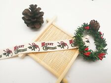 15mm Merry Christmas Polyester Cotton Wrapping Ribbon LBC1156