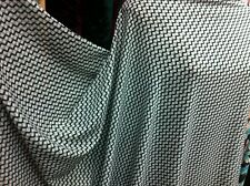 NEW*Off White Cotton Mix with beautiful Black & Green Small Checked Print fabric