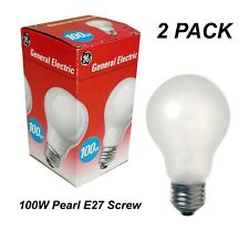 2 x 100W Pearl Light Globes Bulbs Lamps E27 Screw Incandescent A60 GLS Dimmable