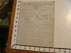 ORIGINAL HAND DRAWN  Newspaper: The West-Newton Monthly MARCH 1873  in pencil