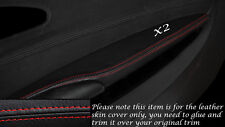 RED STITCH 2X FRONT DOOR ARMREST SKIN COVERS FITS BMW 6 SERIES E63 E64 04-10