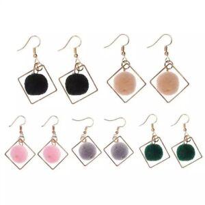 Pair Velvet Round Plush Button Ball  Earring  Jewellery