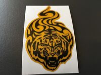 STICKER AUTOCOLLANT RETRO REFLECHISSANT TIGRE TRIBAL JAUNE ET NOIR CASQUE SCOOT
