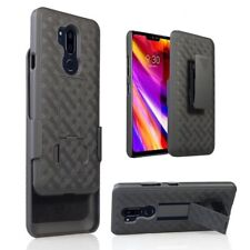 LG G7 Thin Q Belt Clip Holster Black Combo Cell Phone Case Kick Stand Cover