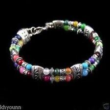 Jewellery Tibet silver multicolor jade turquoise bead bracelet