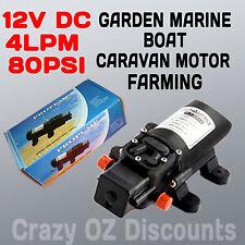 12V DC DIAPHRAGM WATER PUMP 4 LPM 80PSI GARDEN MARINE BOAT CARAVAN MOTOR FARMING