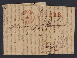 BELGIUM 1839 ANVERS FOLDED LETTER TO PARIS INCLUDED STOCK REPORTS SEE SCANS