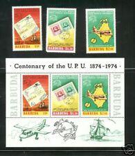 BARBUDA #167-9a  S/S UPU Emblem Ships Airplane Centenary