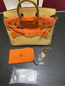 HERMÈS Vintage Ostrich Strauss Birkin 35 Bag Tasche Handtasche Handbag Rare