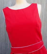 Nos Vtg Orange Red Sleeveless Summer Dress sz 12 Polyester Rayon White Piping