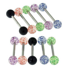10 Pieces Pack of UV Super Glitter Ball Barbell Tongue Bar  Piercing Jewellery