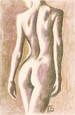fine art print naked nude figure woman standing lady back pastel pencil drawing